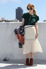 Forest-green-pleated-vintage-dress-dark-brown-ankle-h-m-boots