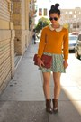 Mustard-zip-marc-jacobs-sweater-turquoise-blue-polka-dot-vintage-dress
