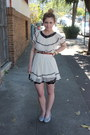 Light-blue-quilted-flats-chanel-shoes-ivory-ruffled-vintage-dress-army-green