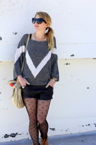 dark gray knitted vintage sweater - tan lace up Topshop boots
