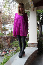 hot pink Betsey Johnson blouse - black American Apparel leggings - black Jeffrey