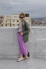 Army-green-trench-primark-coat-amethyst-purple-pink-vintage-pants-red-stripe