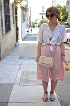 light pink polka dot vintage skirt - black ankle strap Zara shoes