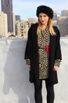 tan leopard tunic vintage dress - black 1960s vintage coat
