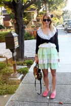 lime green frill  ruffle vintage dress - brown leopard print Betsey Johnson bag
