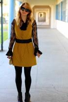 chartreuse mod-ish glam dress - black short leather Gap boots