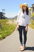 1950s lace vintage top - skinny J Brand jeans