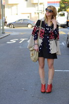 beige heart Betsey Johnson cape - brick red ankle booties Anthropologie shoes