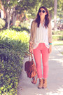Light-brown-backpack-forever21-bag-brick-red-polka-dot-jeans-ag-pants