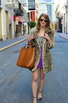 tan leopard spot Topshop coat - light purple ombre tunic Betsey Johnson dress