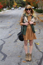 tan l-s button down Forever21 dress - tan leopard booties Betsey Johnson shoes