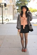 peach tie Forever21 blouse - black button up Forever21 shorts