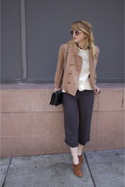 brown pointy vintage shoes - light brown cropped Anthropologie jacket - white la