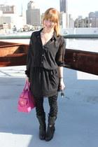 black American Apparel blouse - black American Apparel skirt - black Betsey John