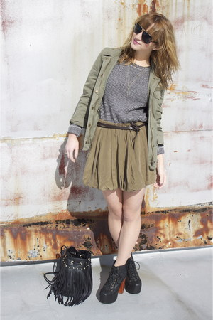 black lita Jeffrey Campbellbell shoes - army green army jacket Jcrew jacket - na