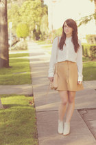 tan a-line vintage skirt - ivory booties Rachel Comey shoes