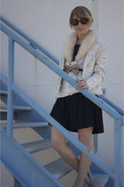 black pleated vintage dress - cream tweed vintage blazer - white sherpa collar v
