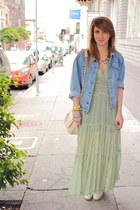 aquamarine vintage dress - ivory ankle booties Rachel Comey shoes