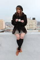 dark brown Betsey Johnson coat - dark brown thrift dress - light brown Steve Mad