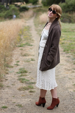 crochet 1960s vintage dress - brown suede H&M boots - dark brown rugby cardigan