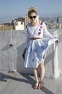 Sky-blue-striped-vintage-dress-charcoal-gray-envelope-clutch-vintage-bag-whi