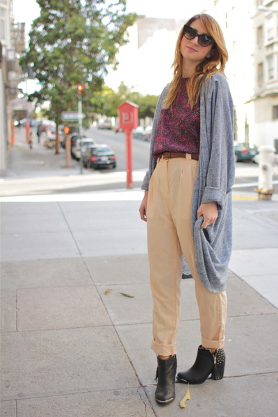 peach trouser thrifted pants - black ankle boot Mtng shoes