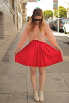 red pleated vintage skirt - ivory ankle boots Rachel Comey shoes