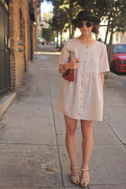 beige gingham vintage dress
