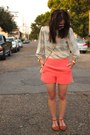 Off-white-checkered-vintage-top-coral-high-waist-forever21-shorts
