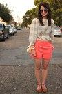 Coral-high-waist-forever21-shorts-off-white-checkered-vintage-top