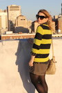 Black-polka-dot-vintage-blouse-yellow-striped-neon-gap-sweater