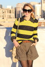 Yellow-striped-neon-gap-sweater-olive-green-high-waisted-aqua-shorts