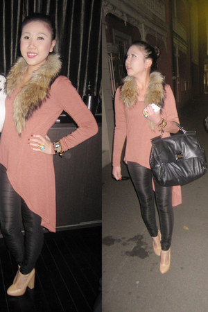 black black rats sass & bide leggings - camel fur scarf scarf - black D&G bag -