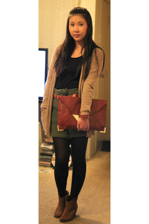 River Island boots - asos bag - asos shorts - David Lawrence cardigan - house of