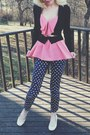 Pink-bow-top-top-pants-black-forever21-cardigan-white-bcbg-wedges