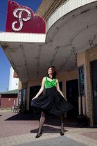 green vintage blouse - black Zara skirt - black Forever21 tights - black Aldo sh