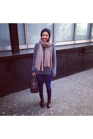 crimson ankle Zara boots - navy Gap jeans - charcoal gray Zara sweater