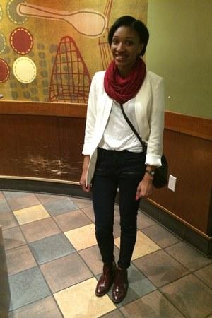 white Nasty Gal blazer - crimson ankle Zara boots - navy Zara jeans