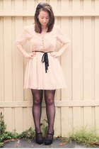 light pink Dahlia dress - black zu heels - black asos stockings