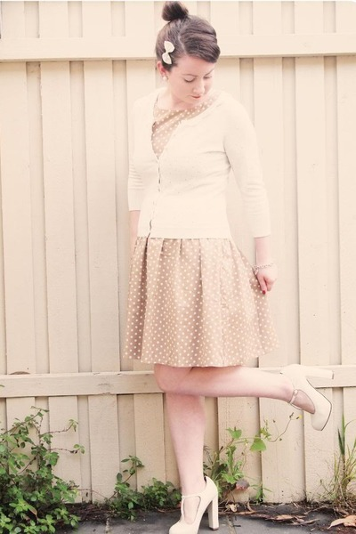 brown polka dot Topshop dress - ivory lace collar Alannah Hill cardigan