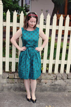 teal Orla Kiely dress - black bow ferragamo pumps