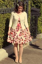light pink floral 50s Review dress - ivory Alannah Hill cardigan