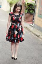 black ferragamo heels - ruby red Review dress - black headband diva accessories
