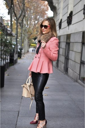 bubble gum peplum unknown jacket - black leather Zara leggings