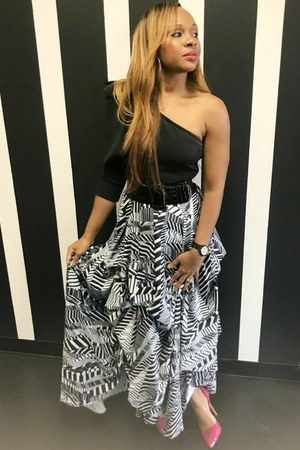 black and white Trish M Fashions skirt - black Trish M Fashions blouse
