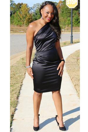 faux fur Target jacket - black Dillards dress - black JCPenney heels