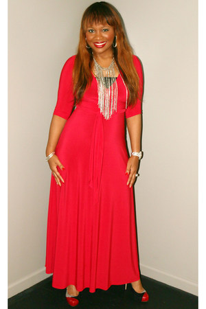 red Dressed By An Angel dress - Steve Madden heels