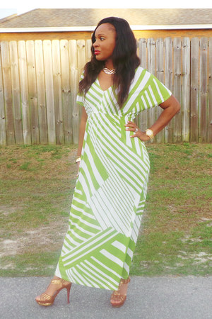 green  white Ross dress - brown gianni bini heels - gold Aldo accessories