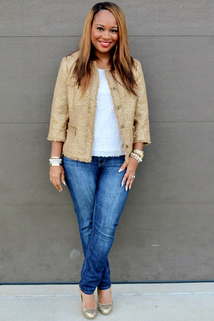 golden brown Betsy Moore Boutique blazer