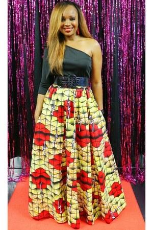 red multi Trish M Fashions skirt - black black Trish M Fashions top